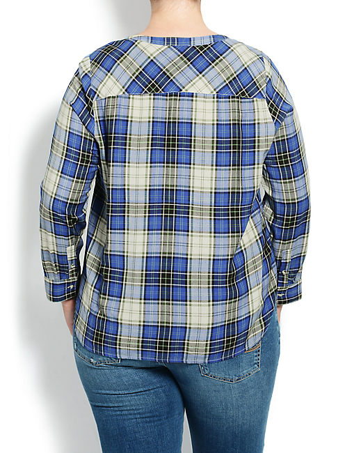 PLAID TIE FRONT TOP, BLUE MULTI