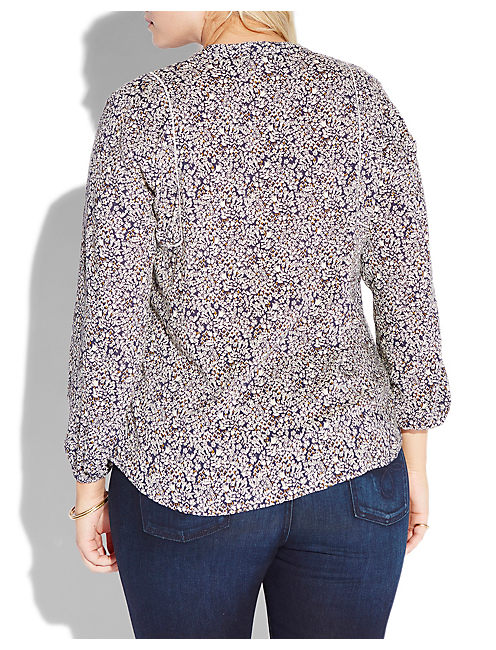 DITSY FLORAL TOP, NAVY MULTI