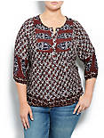 ANNABELLE MIXED PRINT TOP, BROWN MULTI