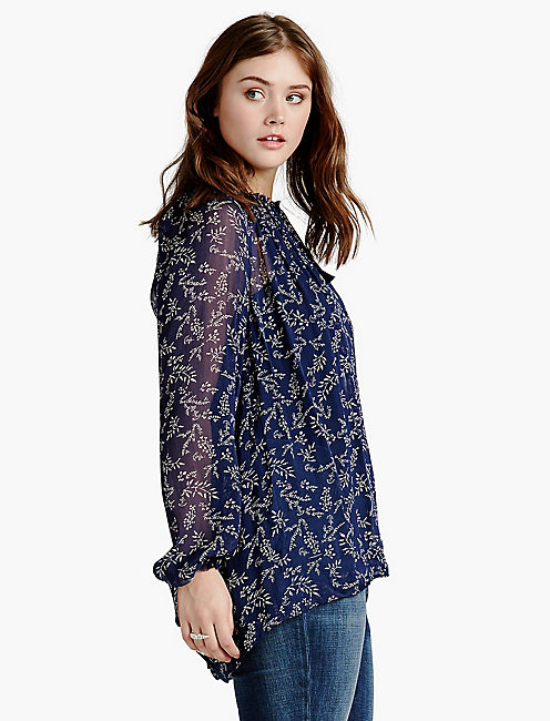 TOSSED FLOWER TOP, NAVY MULTI