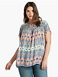 PRINTED SMOCKED TOP,