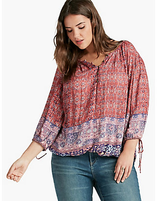 LUCKY TAPESTRY PRINT TOP