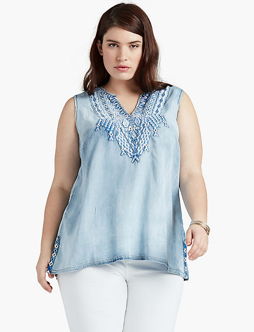 TENCEL EMBROIDERED TANK,
