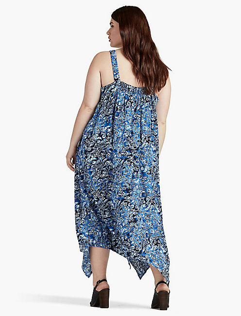 Lucky Indigo Floral Maxi  Dress