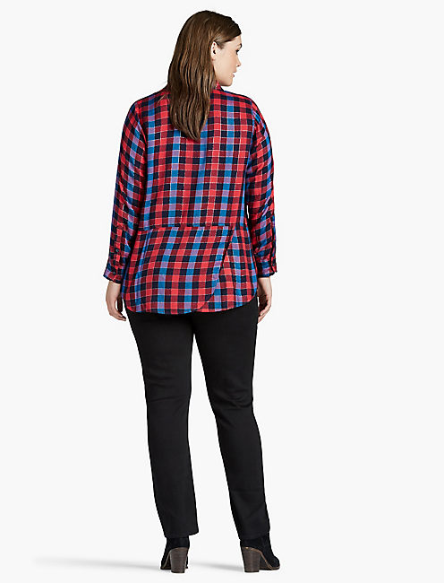 BACK OVERLAY SHIRT, RED MULTI