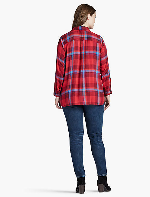 BUTTON SIDE PLAID,