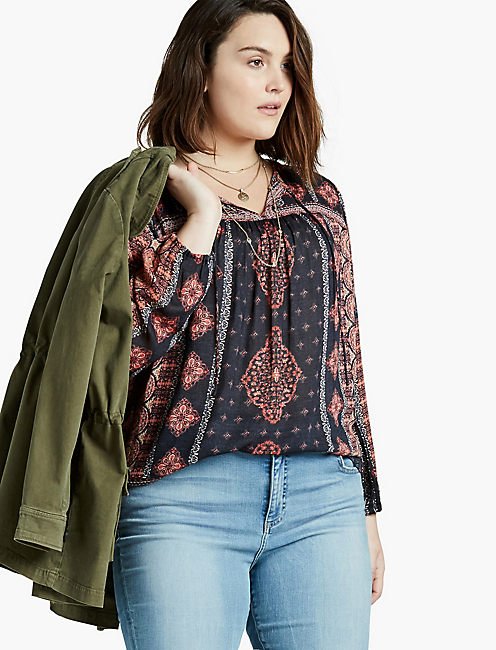 BORDER PRINT PEASANT TOP, ORANGE MULTI