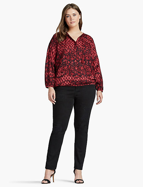 FLORAL PEASANT BLOUSE, RED MULTI
