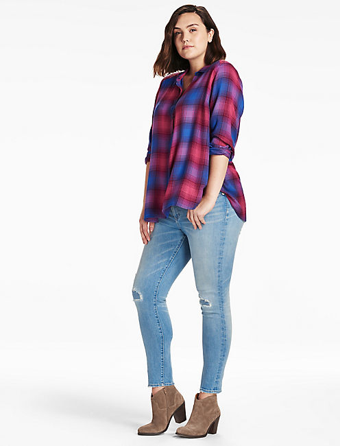 LUCKY EMBROIDERED PLAID SHIRT