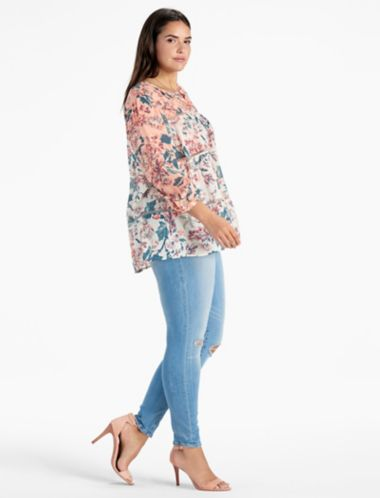 LUCKY MIXED PRINT PEASANT TOP