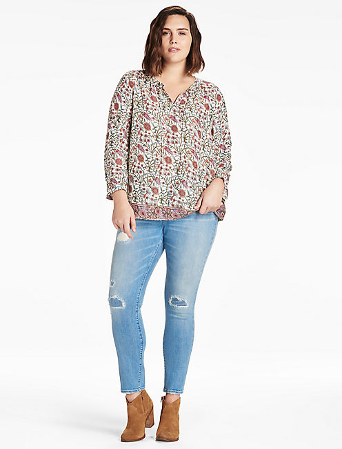 LUCKY METALLIC BORDER PRINT TOP