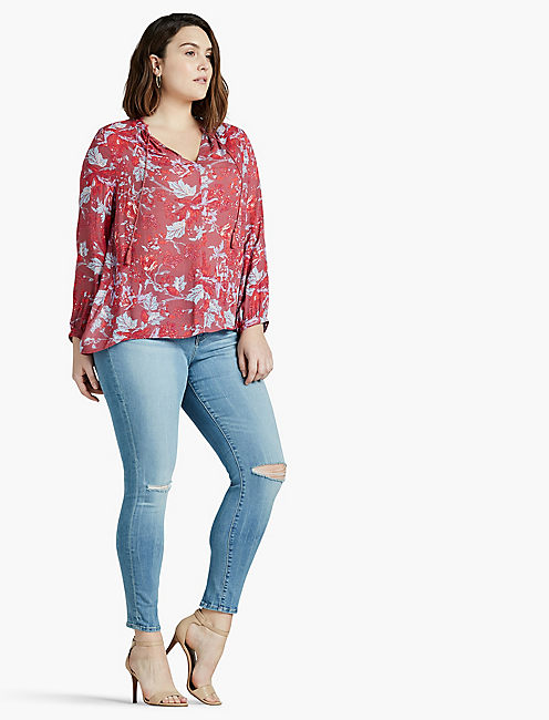 FLORAL FRINGE NECK BLOUSE, RED MULTI