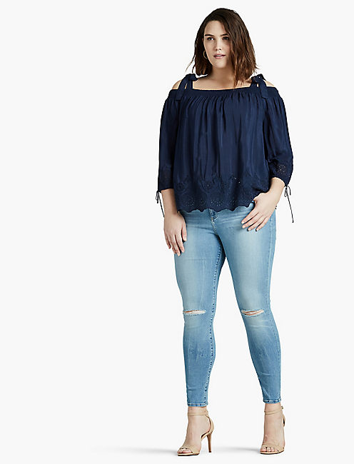 Lucky Eyelet Off The Shoulder Top