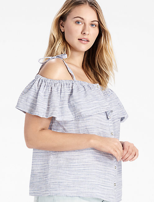SPACE DYED RUFFLE TOP,