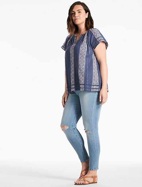 Lucky Blue Lurex Peasant Top
