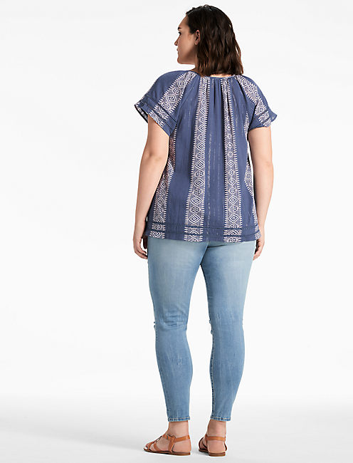 BLUE LUREX PEASANT TOP,