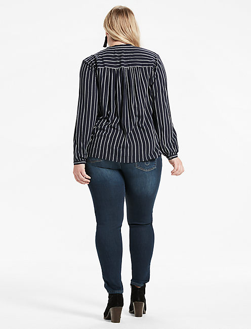 STRIPE POPOVER SHIRT, NAVY MULTI