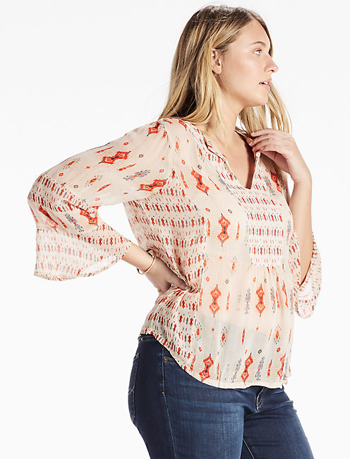 MIXED PRINT BOHO TOP, NATURAL MULTI