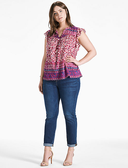 FLUTTER SLEEVE TOP, PURPLE MULTI