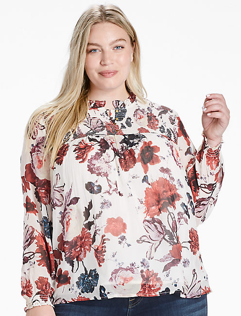 OPEN FLORAL PRINT TOP, MULTI