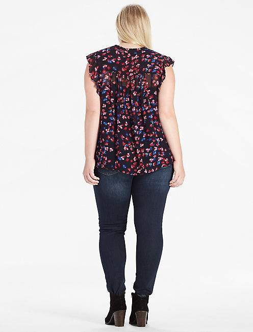 RUFFLE FLORAL TOP,