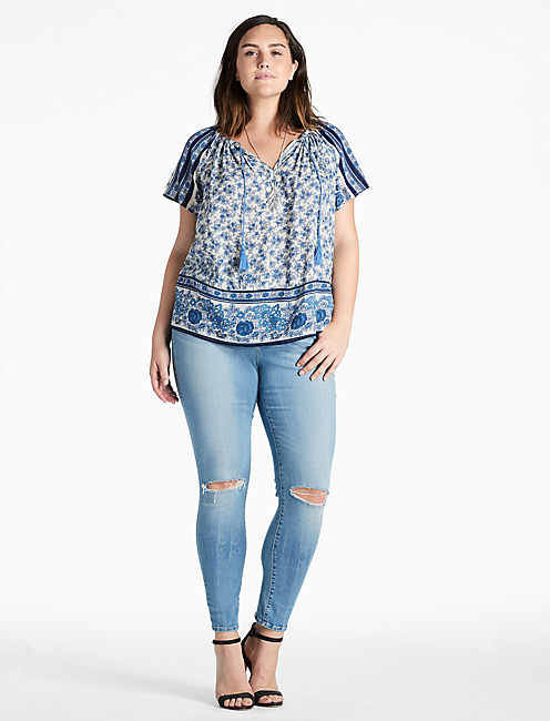 Lucky Short Sleeve Border Peasant Top