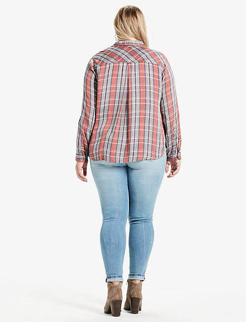 PLAID DOUBLE FACE SHIRT, CORAL MULTI