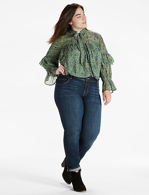 HIGH NECK RUFFLE BLOUSE,