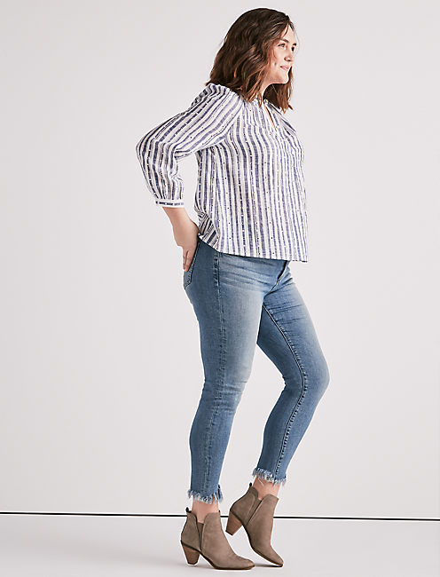 Lucky Blue Stripe Poet Blouse
