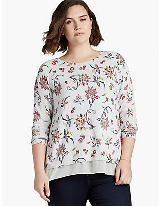 LUCKY FLORAL PRINTED PULLOVER