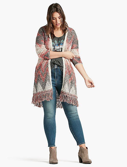 LUCKY CHEVRON FRINGE DUSTER