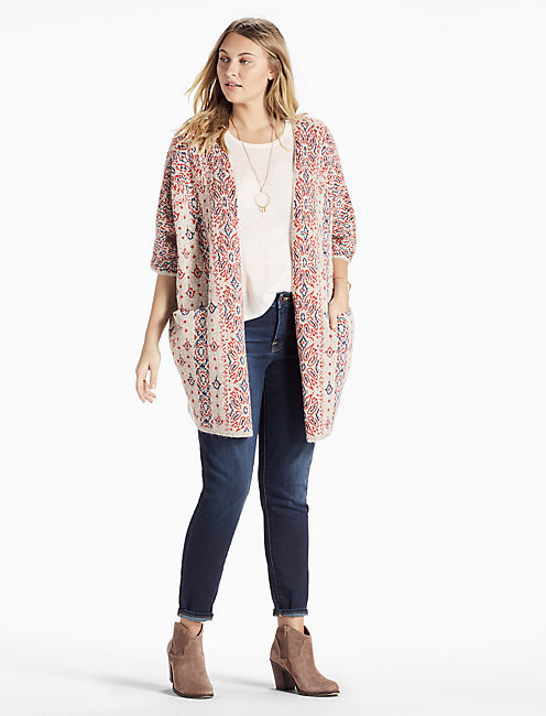 DIAMOND PATTERN CARDIGAN,