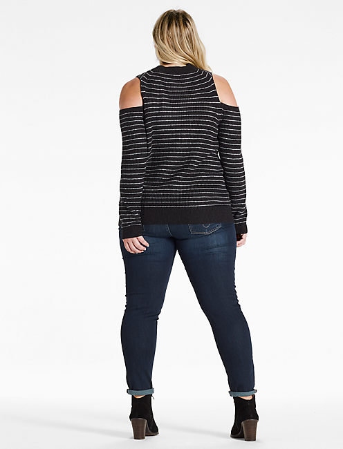 STRIPED COLD SHOULDER PULLOVER, GREY MULTI