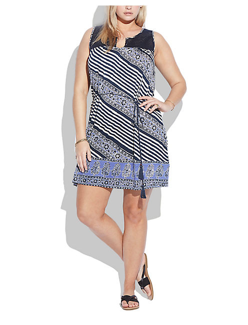 CROCHET STRIPED DRESS, BLUE MULTI