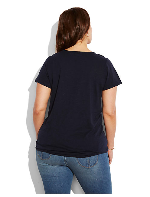 EMBROIDERED CUT OUT TOP, AMERICAN NAVY