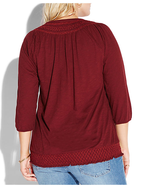 SMOCKED TOP, #6725 FALL RED