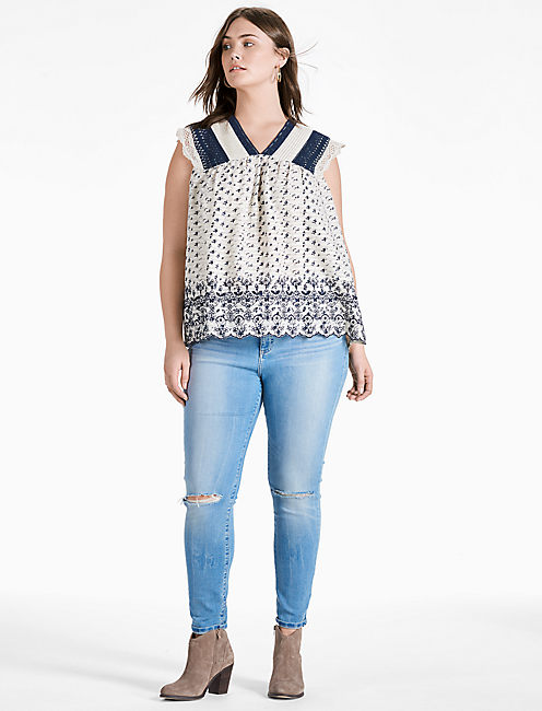 Lucky Printed Embroidered Flutter Top