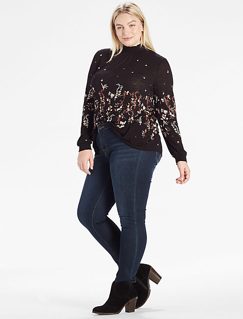 MOCK NECK FLORAL TOP,