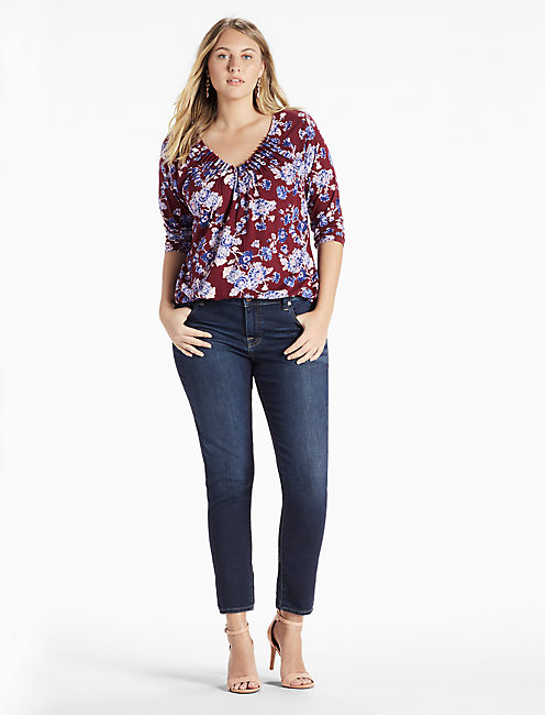 Lucky Floral Pintuck Top