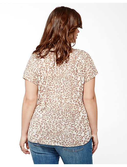 CHEETAH IRIS TOP, NATURAL MULTI