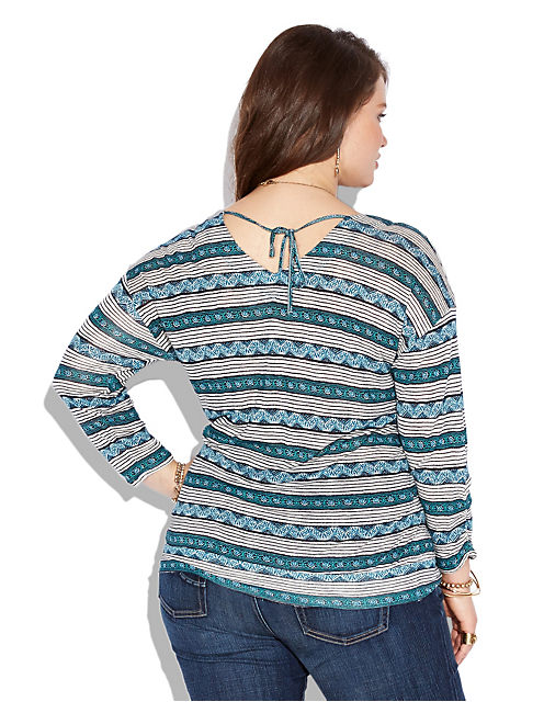 WOODBLOCK TOP, BLUE MULTI