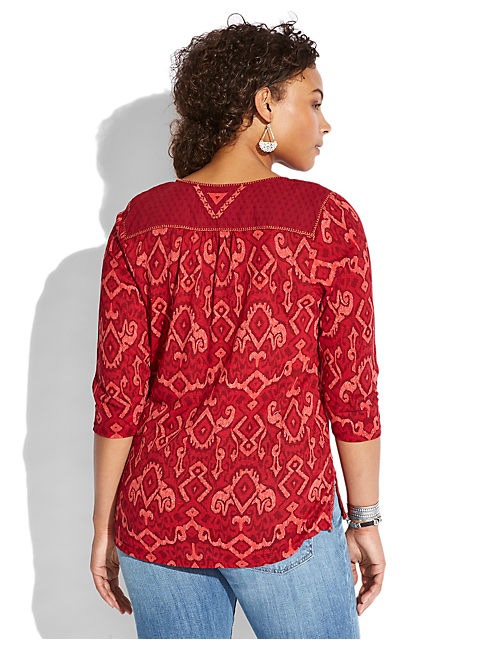 CAMARILLO IKAT TOP, RED MULTI