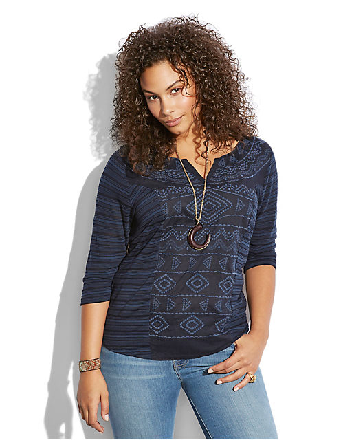 SAHARA EMBROIDERED TOP, AMERICAN NAVY