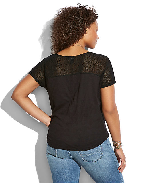 MESH YOKE TOP, 001 LUCKY BLACK