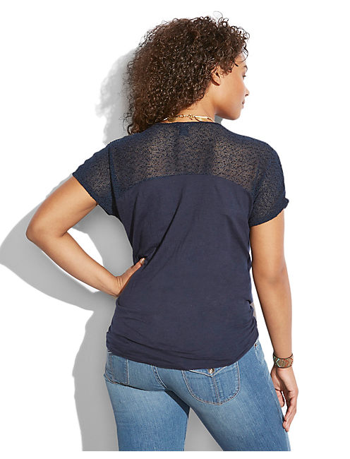 MESH YOKE TOP, AMERICAN NAVY