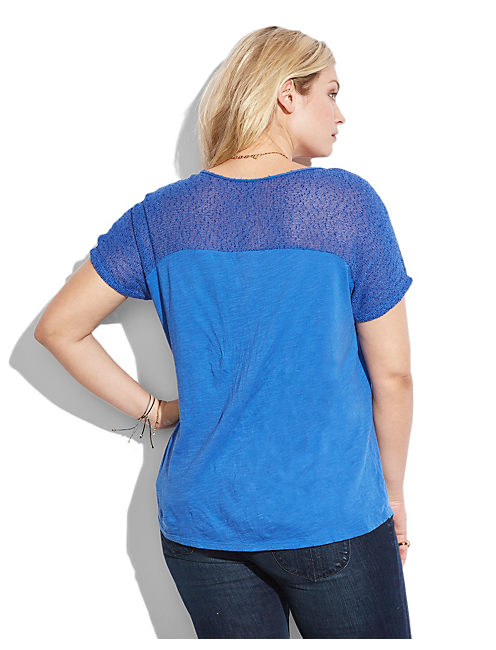 MESH YOKE TOP, #40092 DAZZLING BLUE