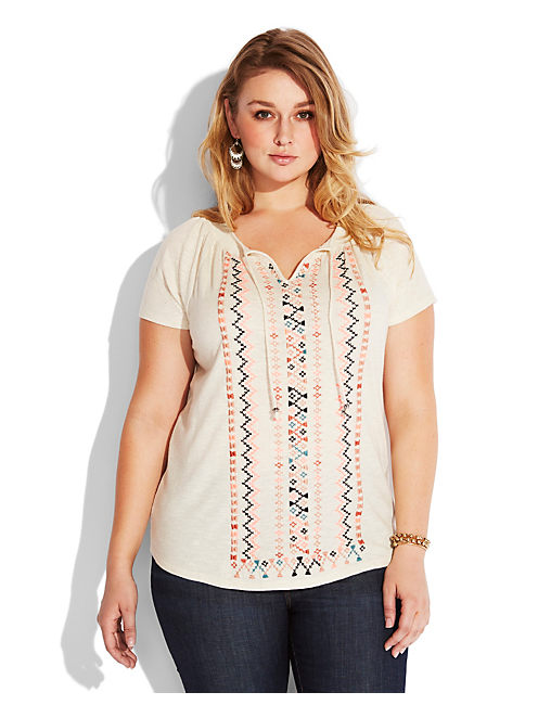 NEON EMBROIDERED TOP, NATURAL MULTI