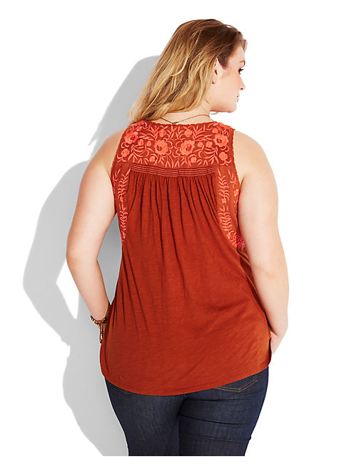 ROSALINA EMBROIDERED TANK, #6722 BURNT HENNA
