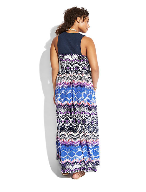 PRINT MAXI  DRESS, BLUE MULTI
