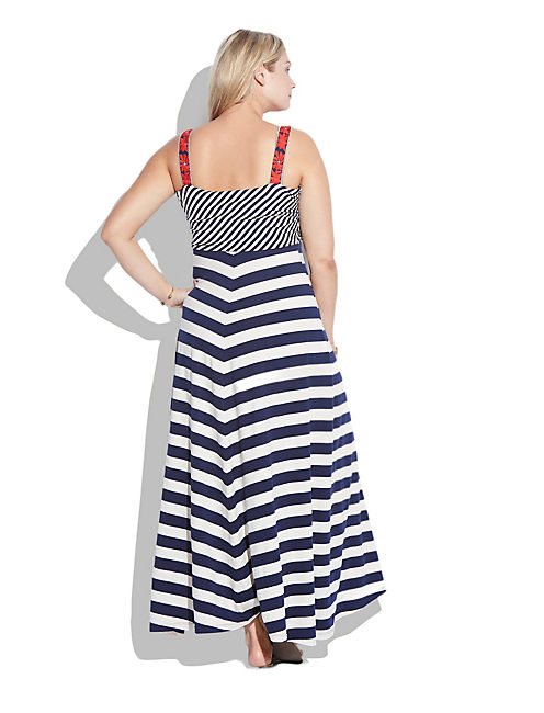 STRIPE MAXI DRESS, BLUE MULTI